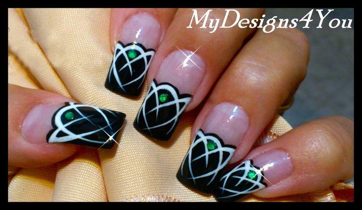 Celtic Nail Art Tutorial | Mysterious Emerald Gem Nails | Tattoo Nails ♥