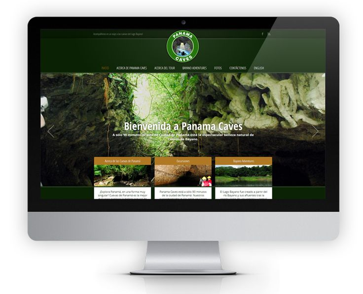 The Panama Caves website features dark and earthy colors and to emulate the feeling of exploring a tropical cave.  Reservations can be made online using a contact form.  The website is also available in English and Spanish – built using mirror sites.