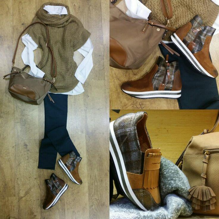 Chaleco de punto camel Camisa blanca Pantalón NAF NAF Bolso bandolera Botines con suela gruesa y plana que garantizan estilo y comodidad