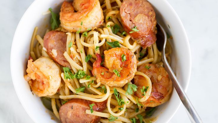 ONE-POT CAJUN SHRIMP SAUSAGE PASTA Serving Size: 4-6 INGREDIENTS 1 pound linguine 3 tablespoons butter (divided as 2 and 1) 2 ½ tablespoons cajun seasoning (...