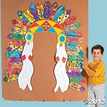 coiffe d'indien avec une plume décorée et au prénom de chaque élève