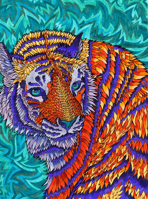 Telenergetic Tiger Psychedelic Big Cat by PaintMyWorldRainbow, $15.00 /// www.art-by-ken.com