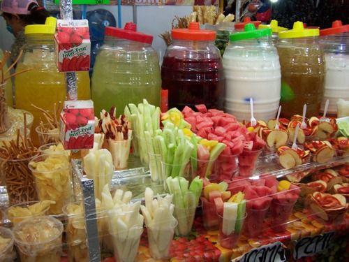 After school treats ... better than fruit roll-ups or cookies and milk.  Aguas Frescas de frutas y fruta picada con chile piquín