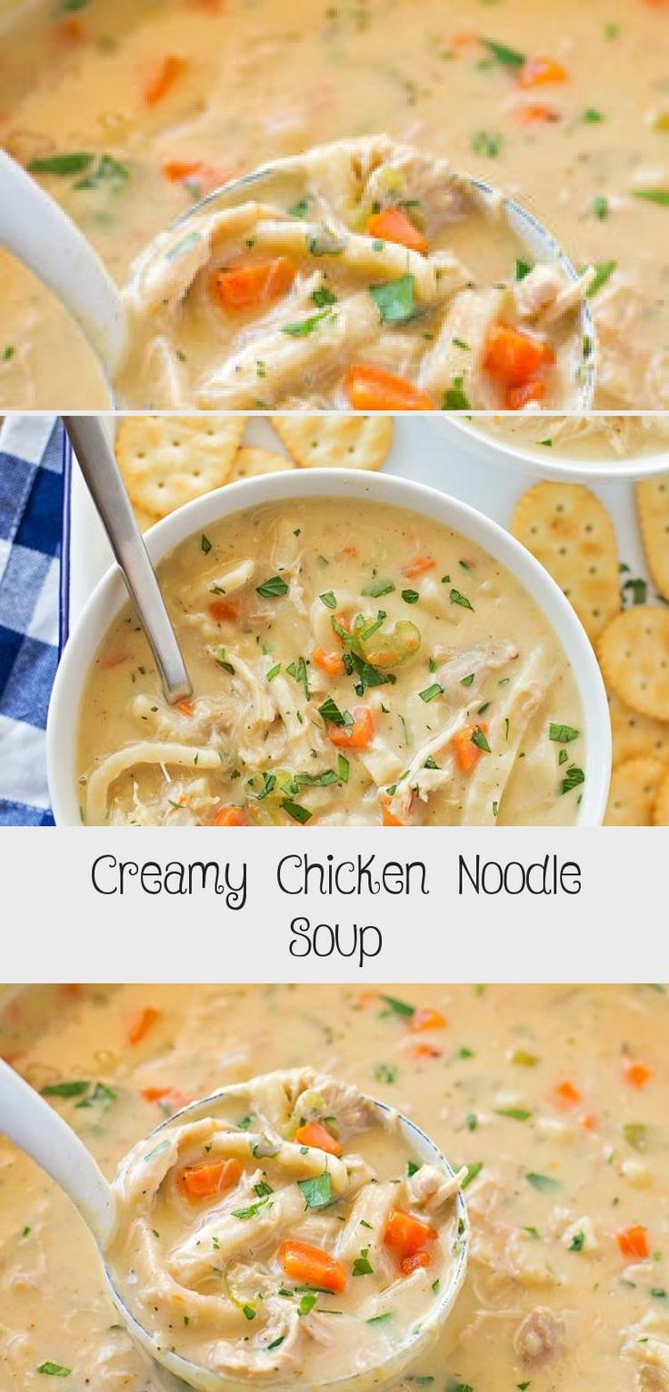 creamy chicken noodle soup made with reames homestyle egg