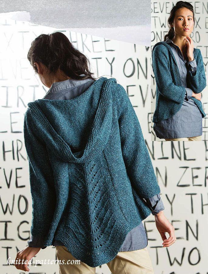 Hooded cardigan knitting pattern free