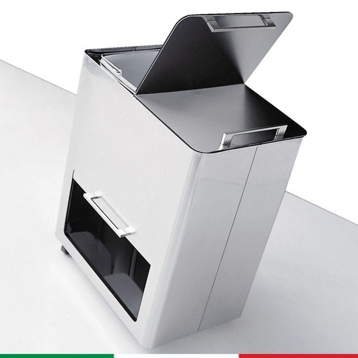 Bidone Pattumiera 55x36xh69 cm - L58 per la Raccolta Differenziata a due contenitori estraibili scomparto inferiore 4 Ruote | Graepel spa | Stilcasa.Net: pattumiere