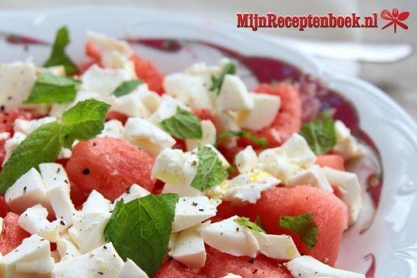 Watermeloen salade met geitenkaas recept
