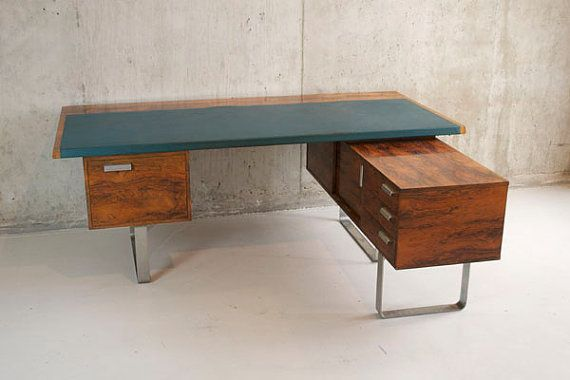 Mid Century Rosewood Veneer L Shaped Desk Home Office