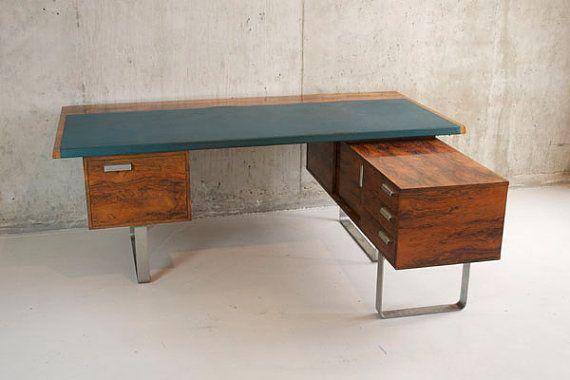 Mid Century Rosewood Veneer L Shaped Desk Home Office In