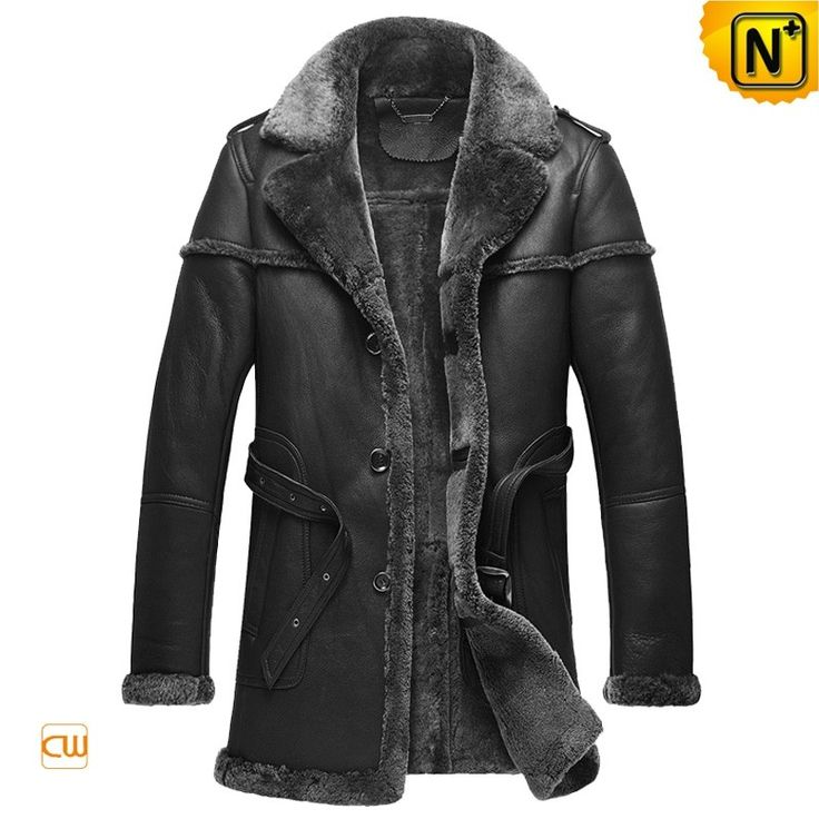 CWMALLS® Burlington Shearling Trimmed Sheepskin Coat CW878578 - Black shearling trimmed sheepskin coat for men, made from ecological sheepskin materials with allover shearling trims, handsome leather epaulets and leather buckle waist belt, keeping you warm as well as stylish, distinctive from others. If you demand, CWMALLS® can also customize this coat for you.