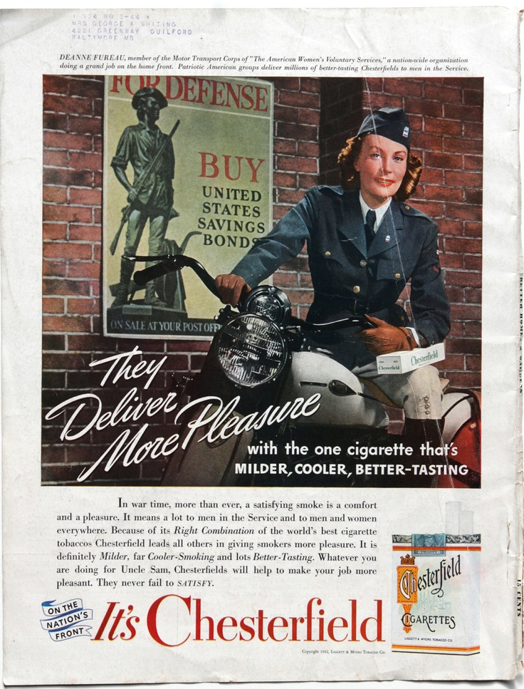 vintage ads | Vintage Ad 1942 Chesterfield Cigarettes Military Woman on Motorcycle