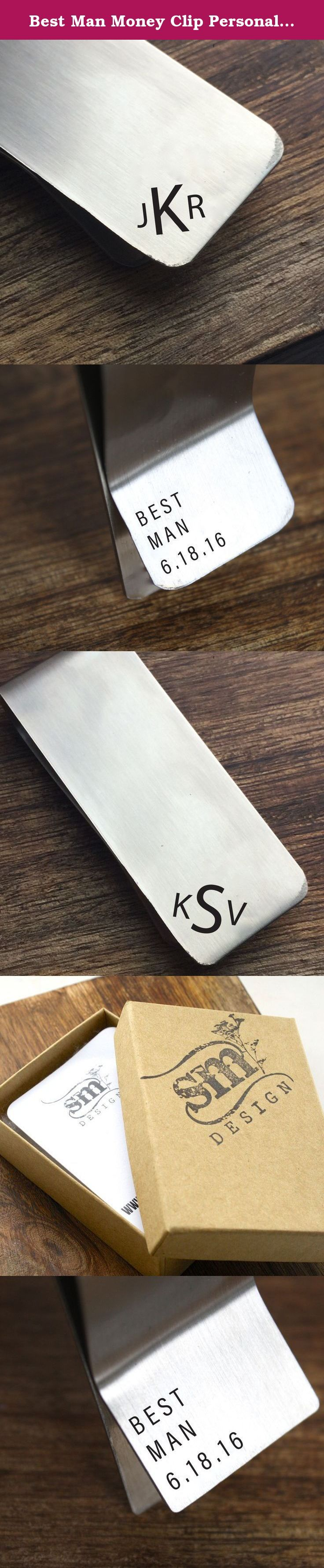 """Best Man Money Clip Personalized Money Clip Money Clip Stainless Steel Money Men's Gift For Him Best Man Gift for Best Man. The perfect gift for your Best Man!! This stainless steel money clip has a personalized monogram on the front and """"Best Man"""" and a personalized date on the back."""