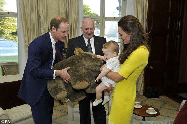 Another one! George was presented with a wombat toy bigger than him by Sir Peter Cosgrove ...