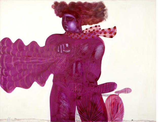 Alecos Fassianos (Greek, born 1935) Personne rouge 114 x 146 cm.