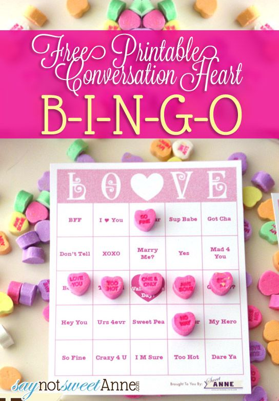 Printable Free LOVE Bingo - Use a bag of conversation hearts and this printable, enough cards for 10 people! | Saynotsweetanne.com