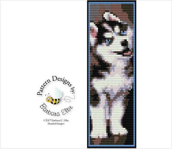 "Siberian Husky Puppy Beaded Cuff or Bracelet Loom or Square Stitch Bead Pattern #410 2 Page Bead Graph - A Large Color Coded & Numbered Graph of the Pattern Made using Size 11/0 Delica Beads Stitch: Loom or Square Stitch Width: 2"" Length: 6"" Colors: 9 This PATTERN is in PDF format"