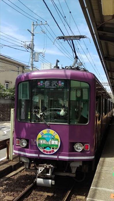 紫色をした江ノ電と京都の嵐電コラボ列車。方向幕のアジサイがいいですね。
