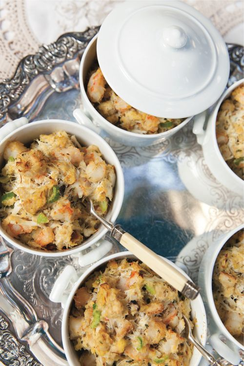 SOUTHERN SEAFOOD STUFFING This warm, savory seafood stuffing makes a glorious entrée or side dish. Charles and Greg like to serve it in individual ramekins as a filling, pick-up party food.