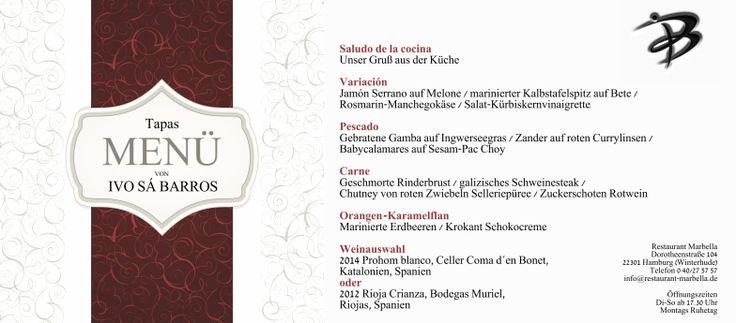 Tapas Mënü  #Menü #Menu #Tapas #Bodega #Chutney #Erdbeer #Gamba #Geschmorte #Jamón #Katalonien #Rioja #Rosmarin #Schokolade #Schwein #Rioja #Spanien #Wein #Zander #Hamburg #HamburgFood #Winterhude #HamburgMeinePerle #hh #WeLoveHH #Chef #FoodPorn #WineLovers #Essen #Lebensmittel