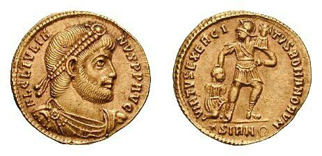 Coin showing (obverse) head of the late Roman emperor Julian (ruled 361–363 AD) wearing diadem and (reverse) soldier