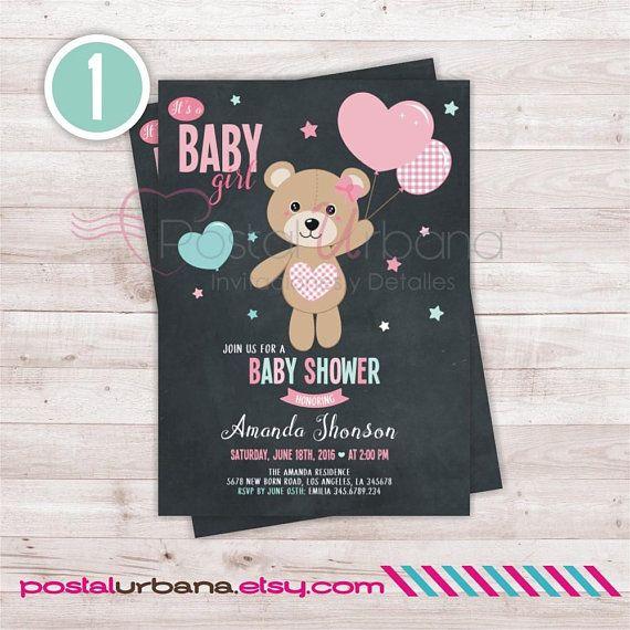 Bear Baby Shower Invitation Baby Girl Invitation Baby