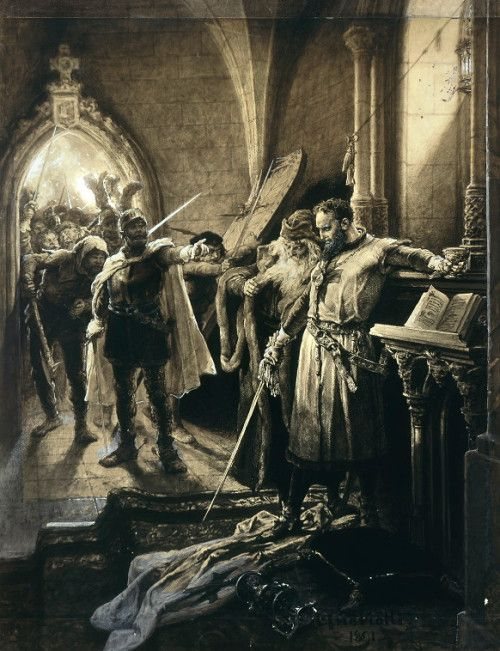 Michał Elwiro Andriolli 1836-1893 (Polish), Death of Konrad Wallenrod, ink and gouache on cardboard, 1891