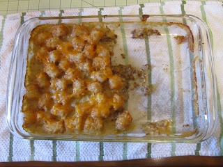 Tater tot casserole without adding can of soup. Must try