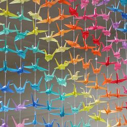 A variety of crafts made with paper cranes!
