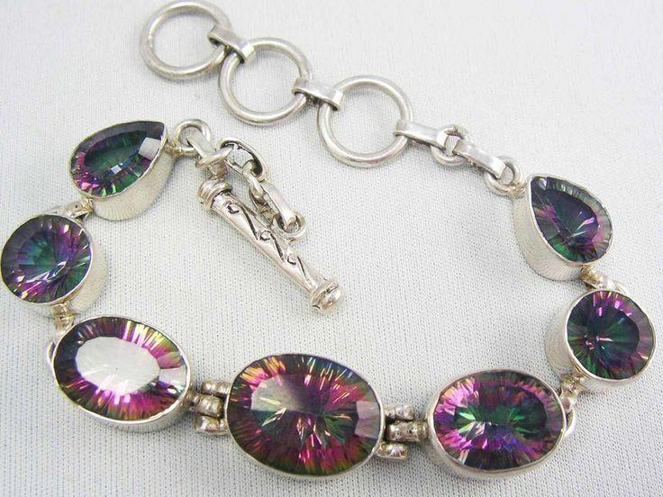 Genuine Sterling Silver Rainbow MYSTIC QUARTZ Oval Faceted Link Bracelet ~Gypsy~