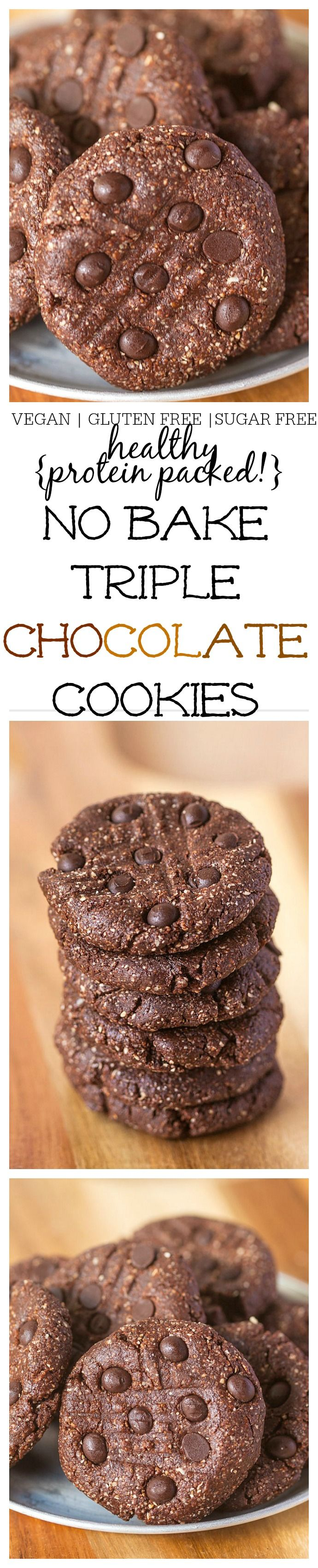 Healthy No Bake Triple Chocolate {Protein Packed!} Cookies- Ready in 10 minutes FLAT, these are so chewy and fudgy! {Vegan, gluten free options!} - thebigmansworld.com