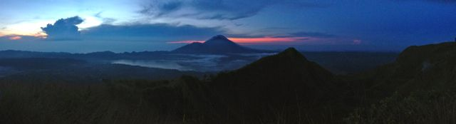 Panorama shot of Mt Batur Bali at sunrise. beautiful colours. Special. http://www.sharingbali.com/retreats/