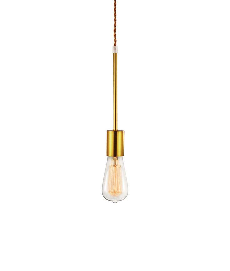 Luminária Pendente Dourado Com Fio Marrom Vintage