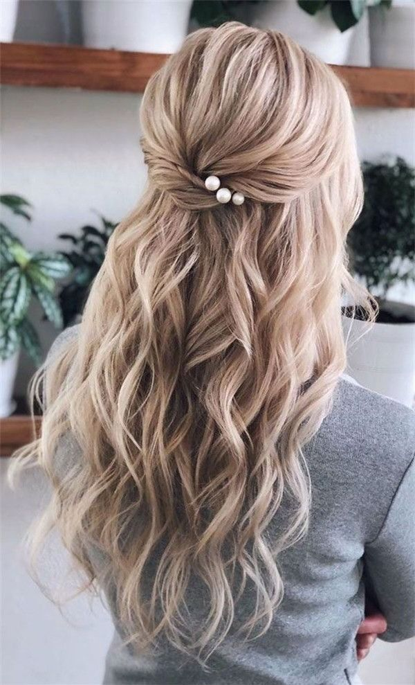 40 Stunning Half Up Half Down Wedding Hairstyles With Tutorial Beautiful Wedding Hair Hair Styles Wedding Hairstyles For Long Hair