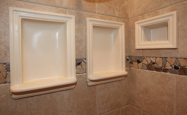 Bathroom Remodeling Design Ideas Tile Shower Niches: Architectural Niches, Crown and Shower foot Rest