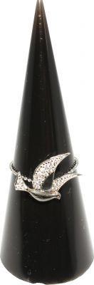 925 Ayar Gümüş Kuş Modeli Eklem Yüzüğü - Beyaz, Siyah