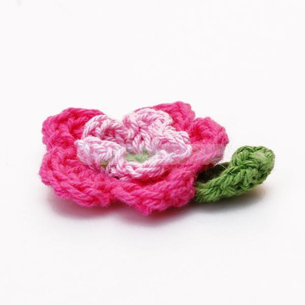 Новый 2015 Новый 20 шт. 5-лепесток 2-слой Ручной Крючком Цветок Аппликации Швейные Craft-Розовый Розовый и Зеленый Бесплатная Доставка доставка