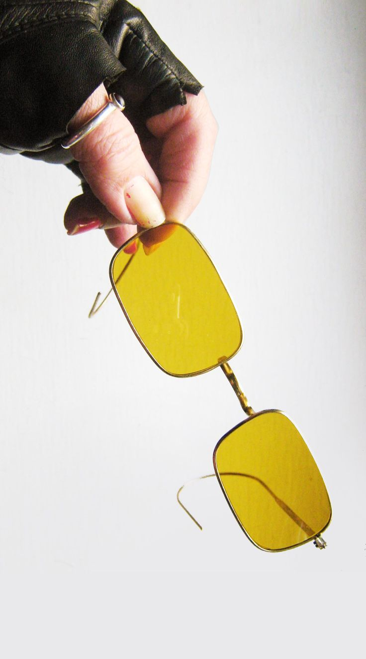 Grunge to cool to ignore. 1950's Japanese rectangular wire rimmed sunglasses with yellow non Rx lenses.