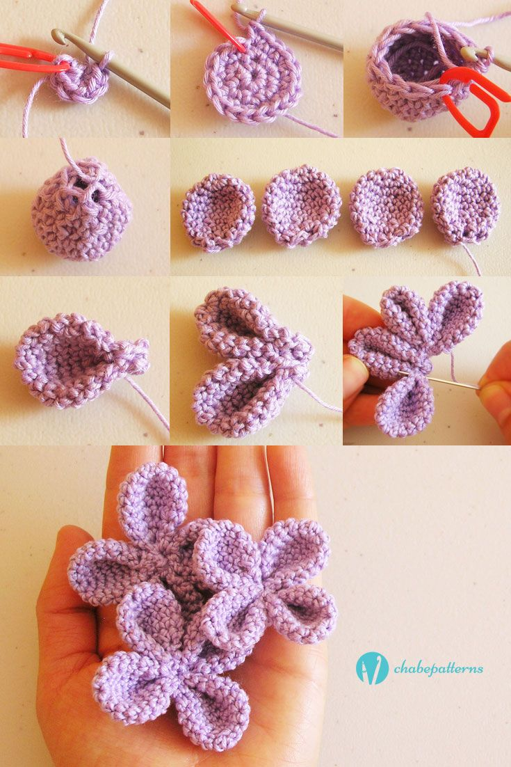 4 petal flower, free pattern, photo tutorial, written instructions/ Flor de 4…