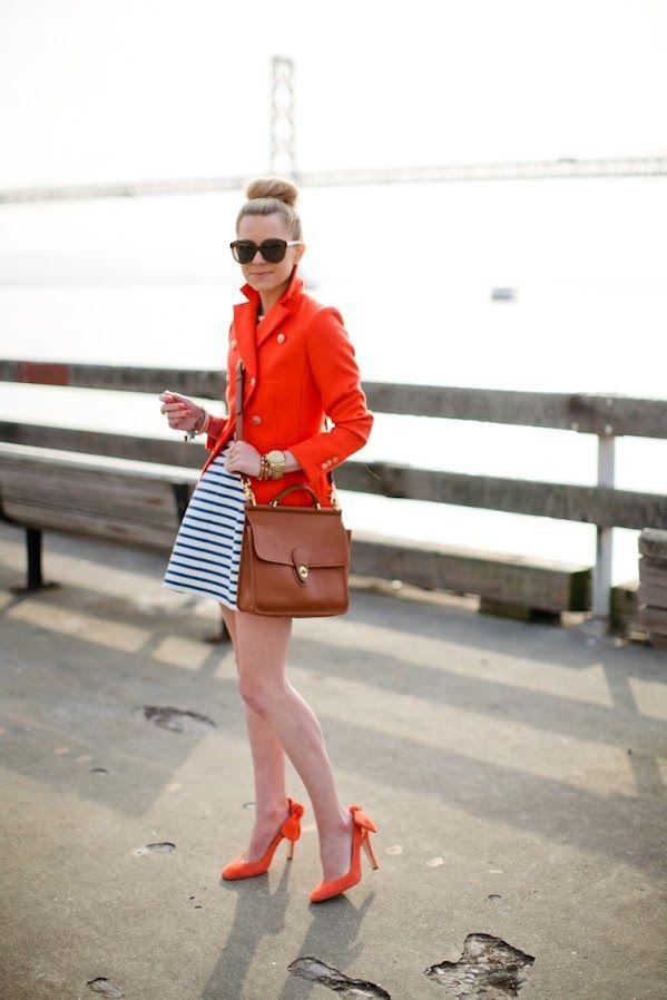 jacket!: Orange, Atlantic Pacific, Nautical Stripes, Style, Color, Outfit, Jackets, Heels, Coats