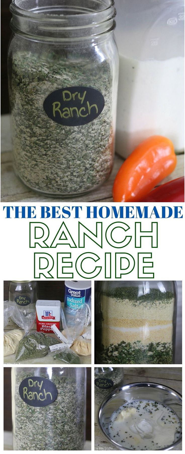 Make delicious homemade ranch with this dry ranch recipe mix. Combine with wet ingredients for a delicious, creamy ranch dressing or dip.