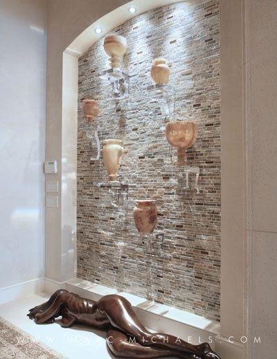 Contemporary Hallway with Antique Art Deco Carved Alabaster Urn Circa 1930, lucite corbel, Allen Knight Classic Bracket