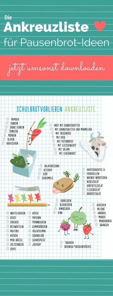 Pausenbrot-Ideen für Schulkinder – der praktische Gratis-Download zum ankreuzen …