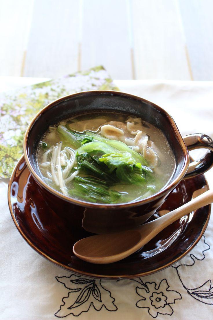 チンゲン菜とえのきと豚肉の中華風スープ by 川田 亜矢 | レシピサイト「Nadia | ナディア」プロの料理を無料で検索