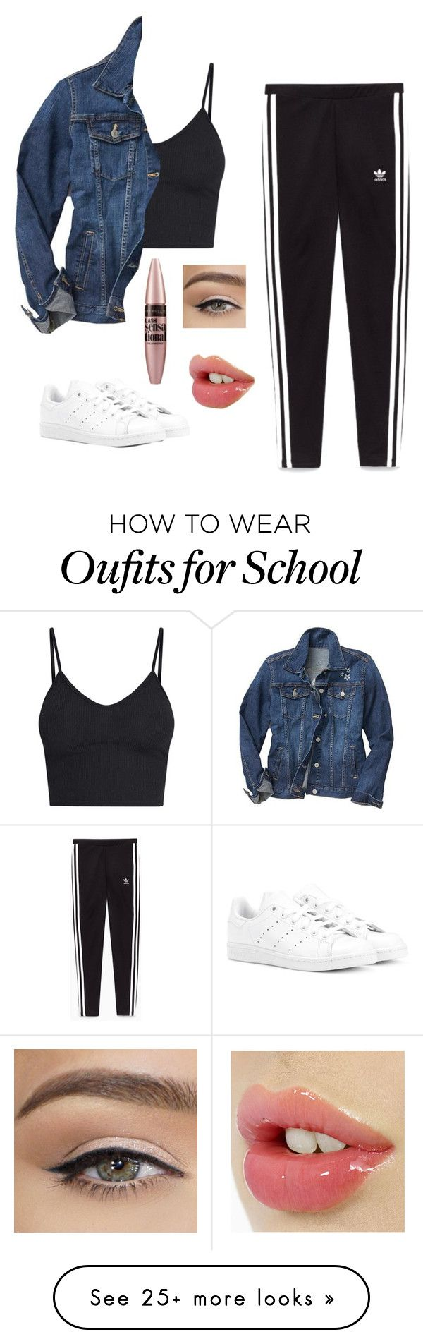 """school"" by mysterioussunflower on Polyvore featuring Gap, adidas Originals and Maybelline"
