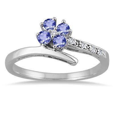 1/4 Carat Tanzanite and Diamond Flower Petal Ring in 10K White Gold