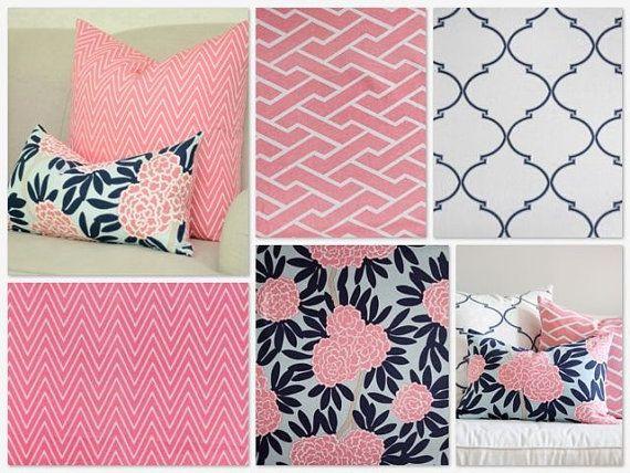 Custom Crib Bedding 2 Piece Set Navy Pink And Beige
