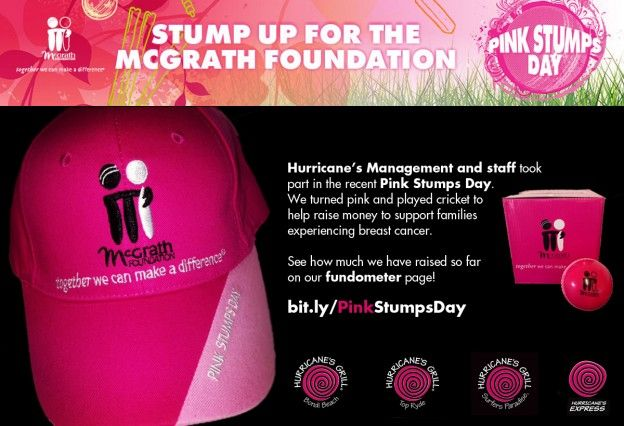 Hurricane's Grill Pink Stumps Day