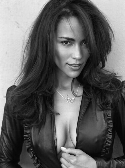 Paula Patton and her fabulous cleavage in leather jacket