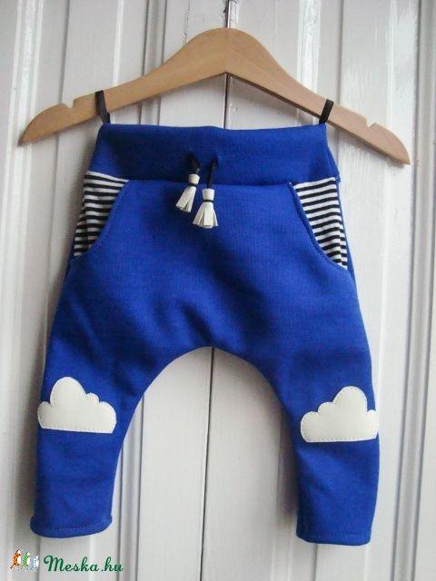 Kék égen felhő csecsemő nadrág / 3-6 hónapos / kék, fehér, csíkos pantalló  (budapestdogs) - Meska.hu