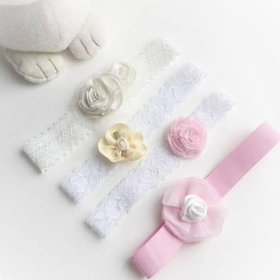 These baby girl headbands are sold individually (styles A, B, C and D) or as a set of 4 - priced in the variations. This set is designed for little babies, 0-6 months old. Each individual baby headband is carefully handmade and would make a lovely gift for baby girl, or a great baby shower gift. They are also perfect as wedding girl hair accessories, newborn photoshoot accessories (newborn photo prop), or even worn as part of a newborn girl coming home outfit, or for a little later, a…